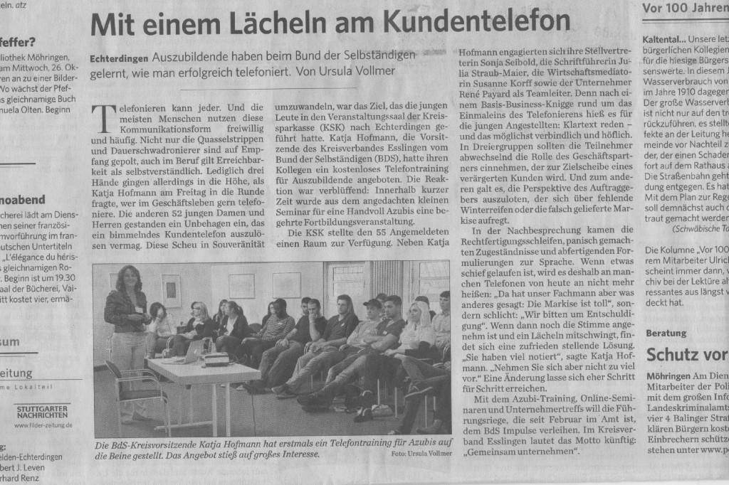Telefontraining von Katja Hofmann für Auszubildende