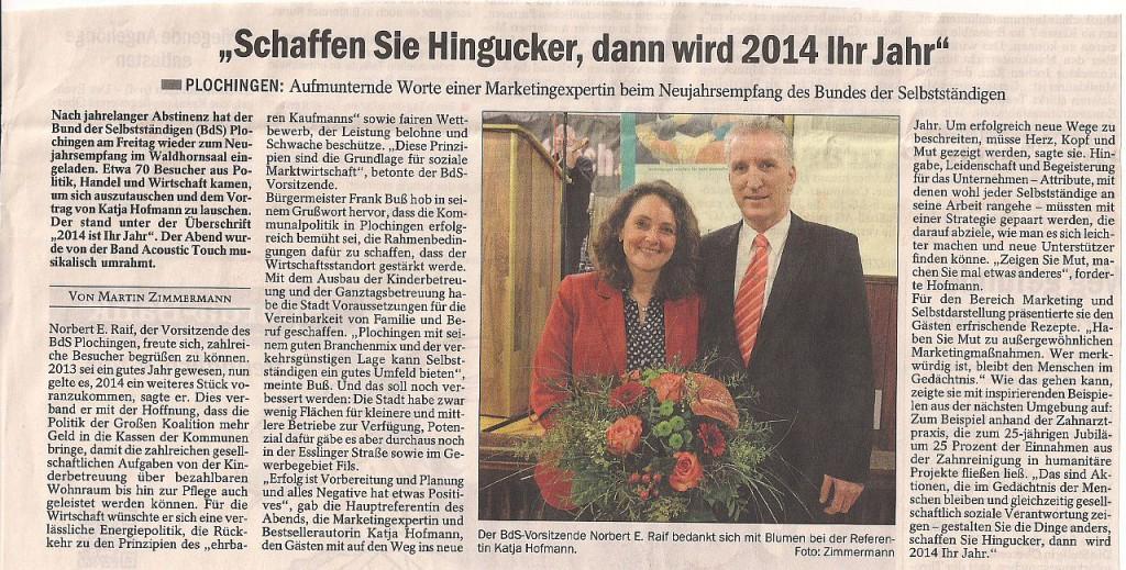 Esslinger Zeitung BDS Plochingen 01.02.14