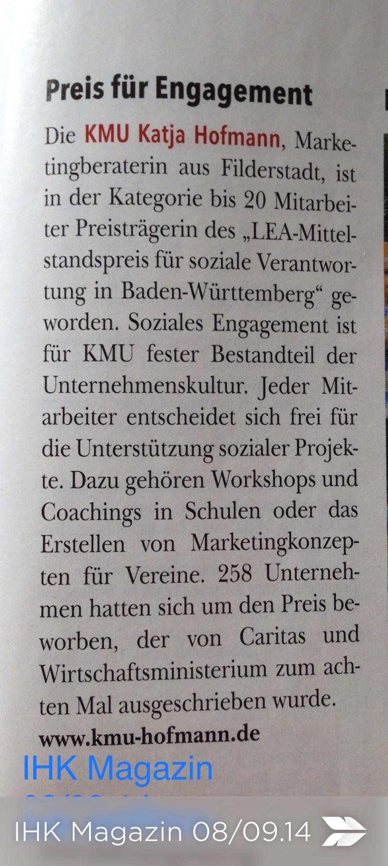 IHK Magazin KMU Preis für Engagement