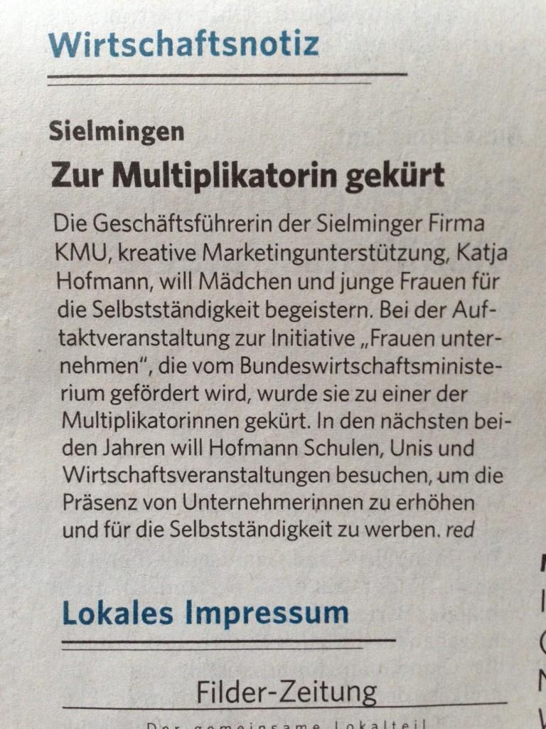 Filder Zeitung Vorbildunternehmerin 10.11.14